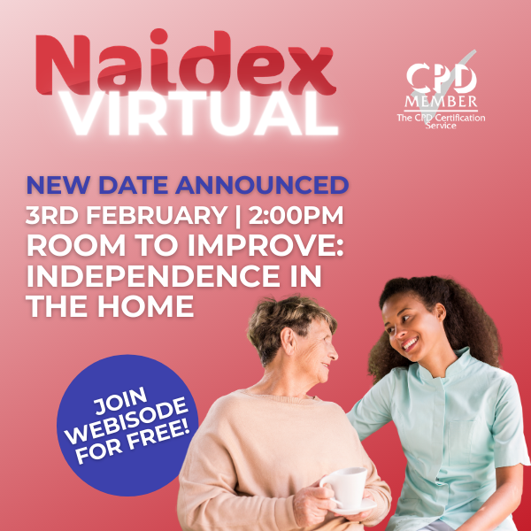 Naidex virtual event showing two women looking at each other on a pink background