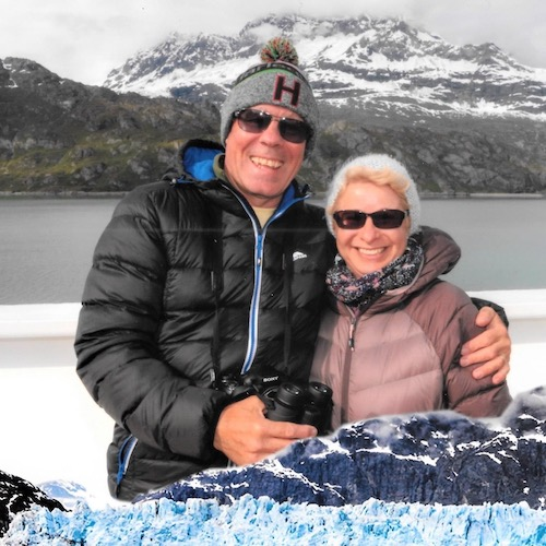 Chris and Carol with snow landscape in the background in Alaska 2019