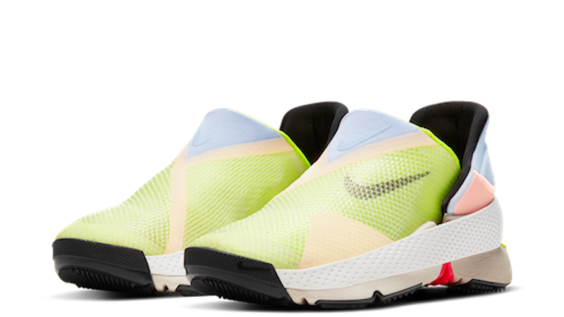 Nike Go FlyEase hands-free soes in white, Celestine Blue, and Volt