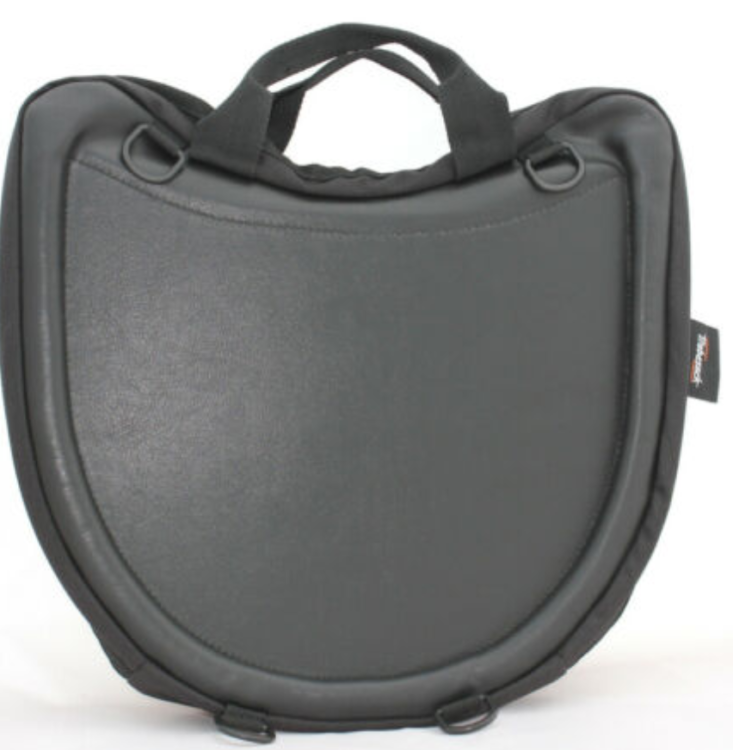 Black leather Trabasack Curve wheelchair lap tray and bag stood on its end