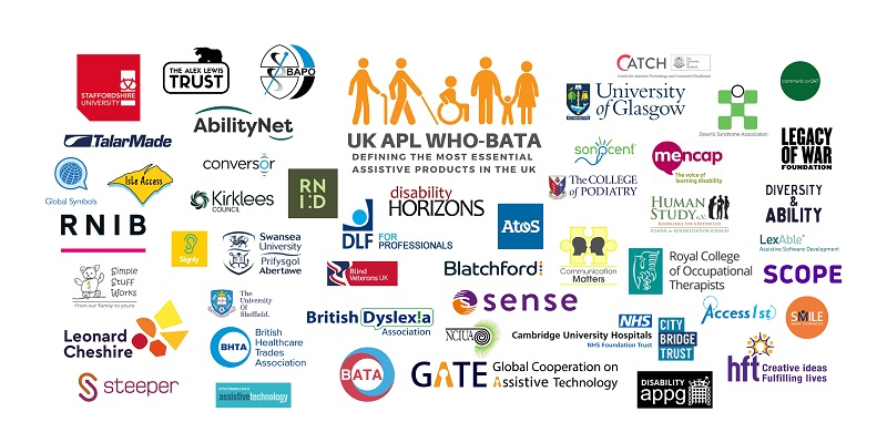 Logos of companies and organisations involved in the WHO assistive technology initiative