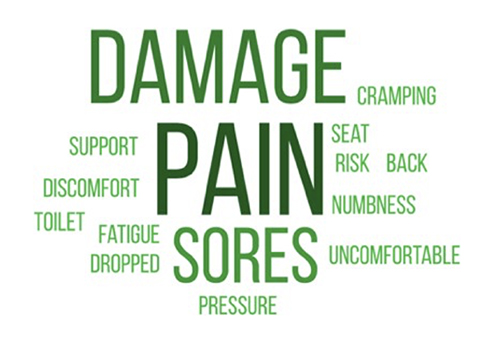 A collage of words describe how disabled people feel when flying, damage, pain, pressure, support, discomfort, toilet, fatigue, dropped, cramping, seat, risk, back, numbness, uncomfortable