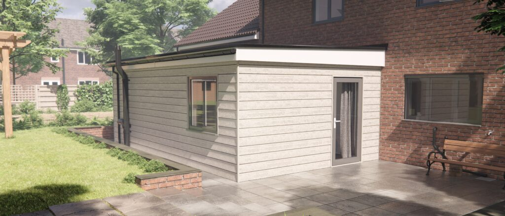 Adapted modular home extension in while clad exterior fitted onto a brick home at the side in the garden