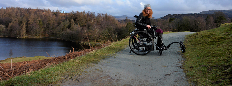 Carrie-Ann Lightley is taking a walk around a lake in her wheelchair