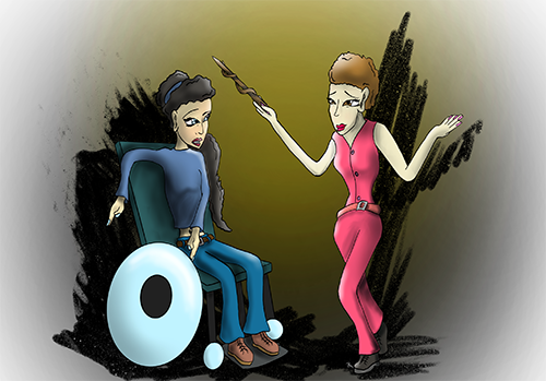 Cinderellla modern illustration - girl with black hair is in a futuristic wheeelchair talking to fairy god mother