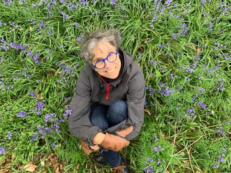 Kez Margrie on location in the blue bells