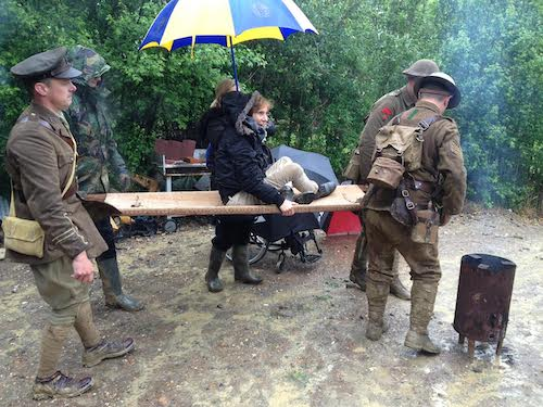 Kez Margrie on location with Operation Ouch! while recording WW1 Special 1