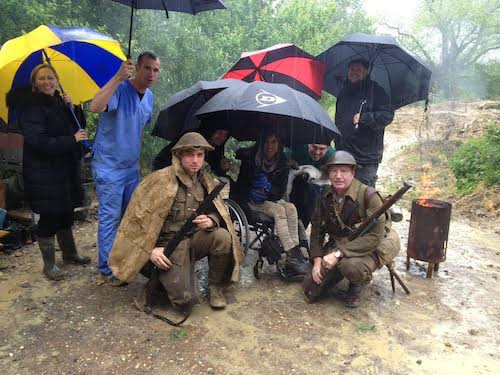 Kez Margrie on location with Operation Ouch! while recording WW1 Special 2