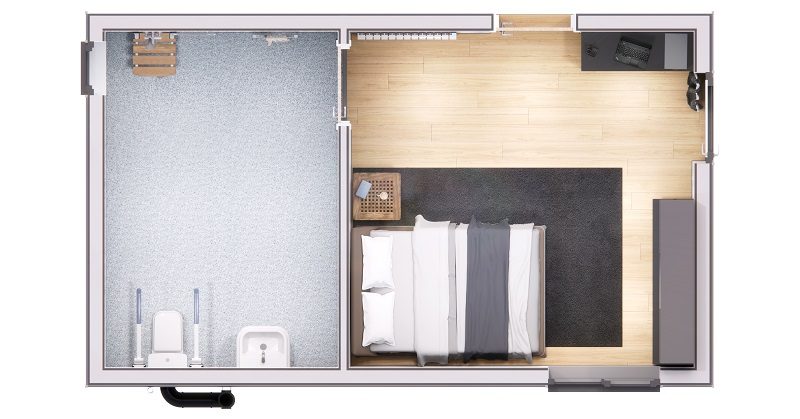 Modular home extension floorplan from RISE Adaptions showing an accessible bathroom on the left and accessible bedroom next to it