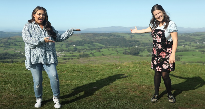 Scarlett Moffatt And Rosie Jones in the Lake District for her new TV show Trip Hazzard