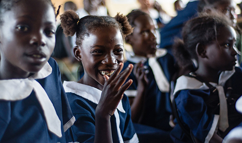 A young girl callled Anne is at school in Zambia