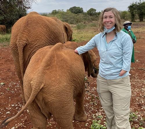 Amputee Brittany at Elephant Orphanage in Nairobi Kenya