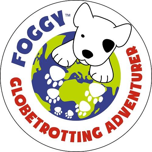 ME Foggy Dog logo with a white cartoon dog on a globe