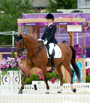 Sophie Christiansen riding horse at Paralympic games 2