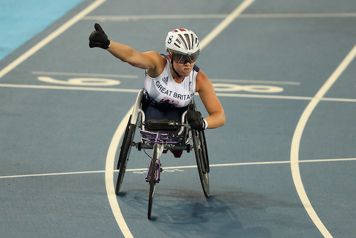 Hannah Cockroft sat in racing chair on track