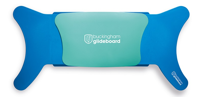 Blue Glideboard transfer aid with a teal gliding seat