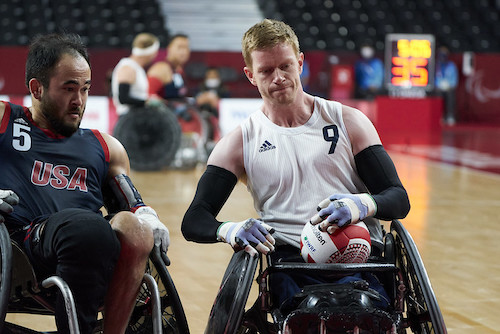 Jim Roberts playing wheelchair rugby