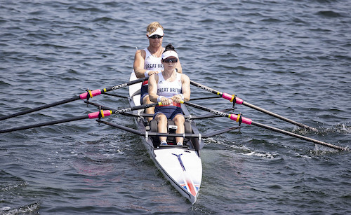 Rowing doubles Laurence Whitely and Lauren Rowley in rowing boat