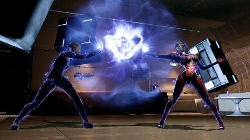 Samara fighting Morinth in Mass Effect Legendary game