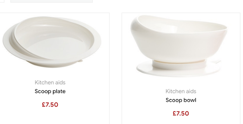 Scoop plate and bowl - kitchen aids for disabled